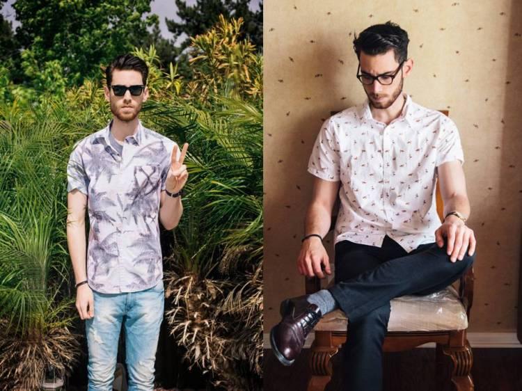 Camisas estampadas com manga curta para o verão